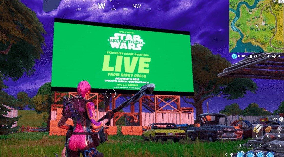 Fortnite Star Wars Screening im Spiel auf riskanten Rollen