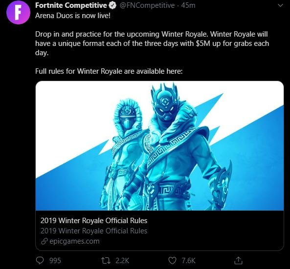 Fortnite Competitive Twitter Arena Duos
