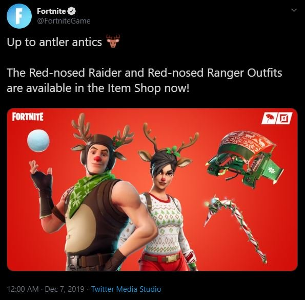 Fortnite Christmas Skins Item-Shop Tweet Leck