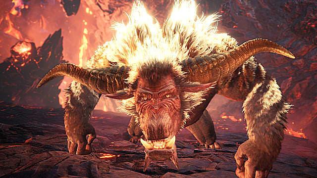 Rajang kauert sich in Monster Hunter: World Iceborne in einen Sprungangriff.