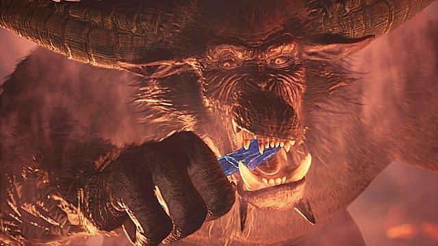 Rajang isst in Monster Hunter: World Iceborne ein bläuliches Silber.