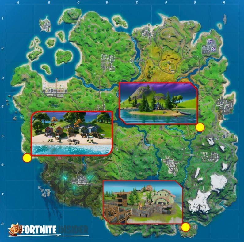 Fortnite Map Locations für Lake Canoe, Camp Cod und Rainbow Rentals